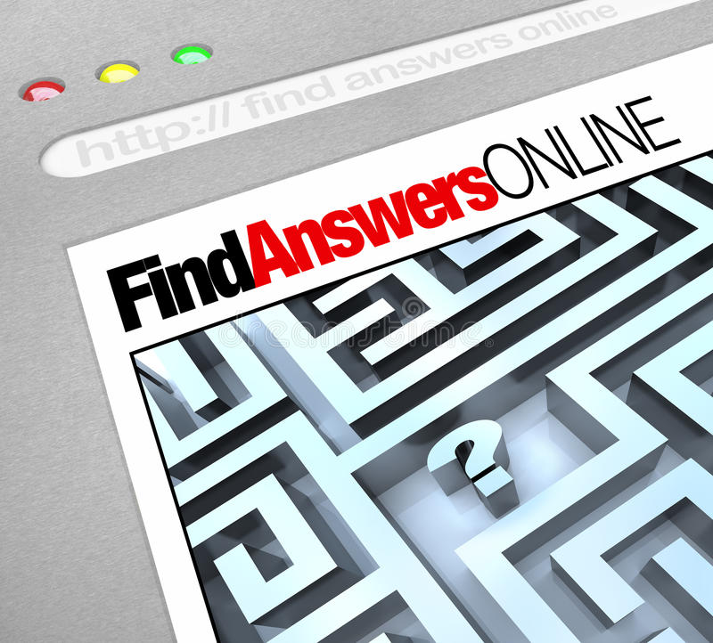 Find Answers Online - Web Screen royalty free illustration