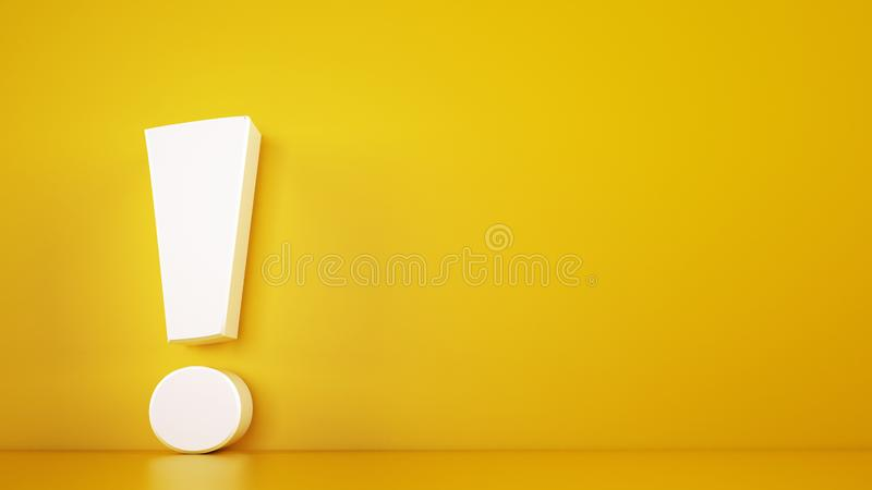 Big white exclamation mark on a yellow background. 3D Rendering stock photo
