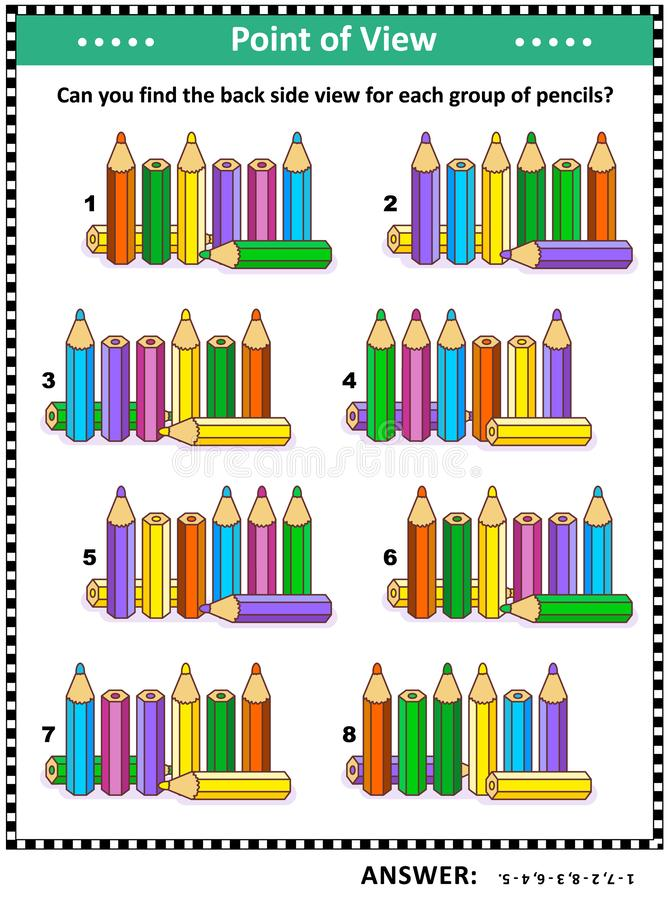 Find back side view visual puzzle with colored pencils. IQ, memory and spacial skills training visual puzzle with colored pencils: Find the back side view for vector illustration