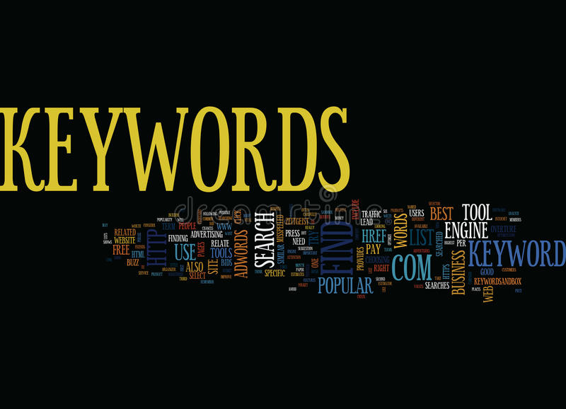 Find The Best Keywords For Your Web Pages Text Background Word Cloud Concept royalty free illustration