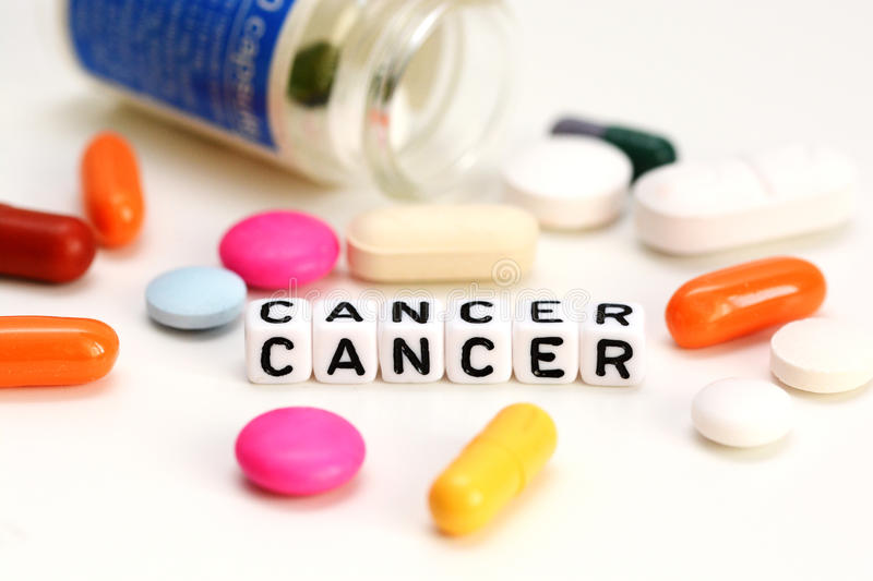 Find a cancer cure or treatment. Find a cancer treatment or cure with colorful pills and plastic letter beads stock photo