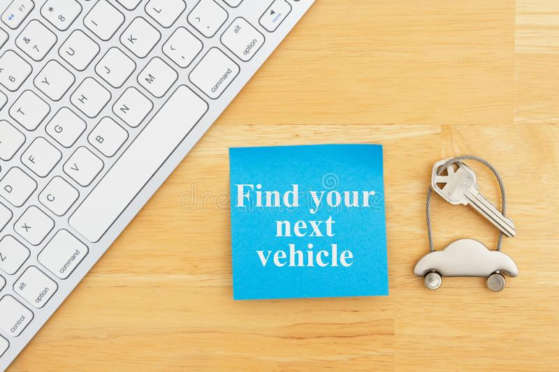 Find car message with car keys with a keyboard and sticky note. For your finding next vehicles online message stock images