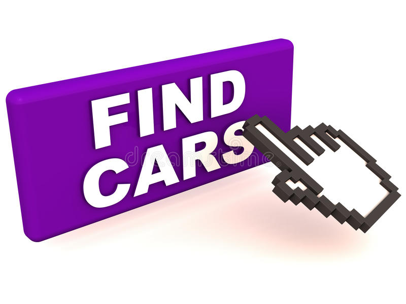 Find cars. Button to easily find new or used automobiles, on white background, a hand icon reaching out to it royalty free illustration