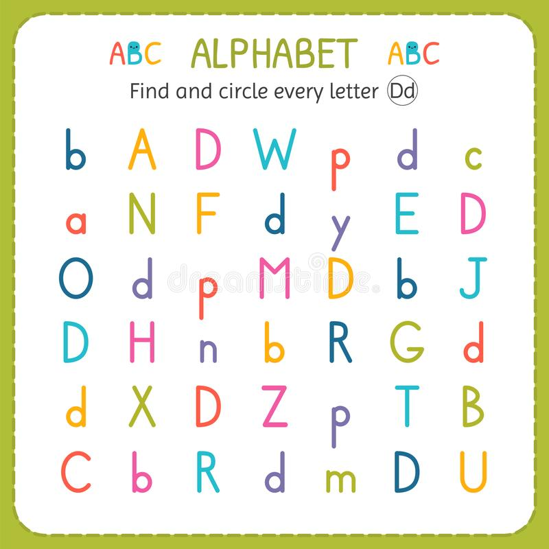 Find and circle every letter D. Worksheet for kindergarten and preschool. Exercises for children royalty free illustration