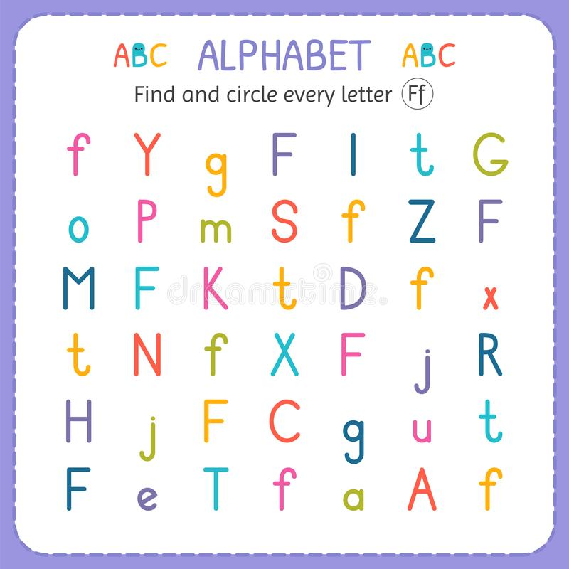 Find and circle every letter F. Worksheet for kindergarten and preschool. Exercises for children stock illustration