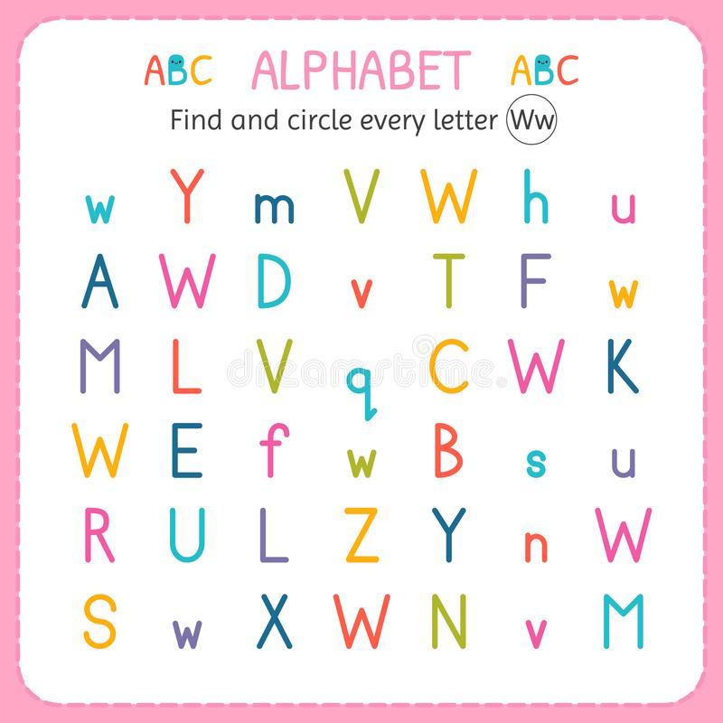 Find and circle every letter W. Worksheet for kindergarten and preschool. Exercises for children royalty free illustration