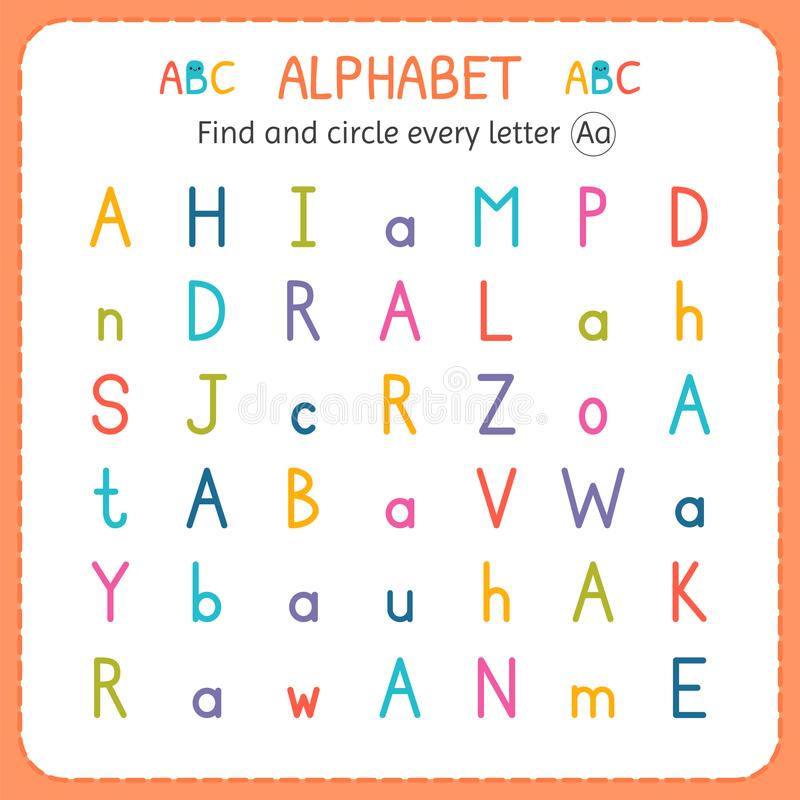 Find and circle every letter A. Worksheet for kindergarten and preschool. Exercises for children vector illustration