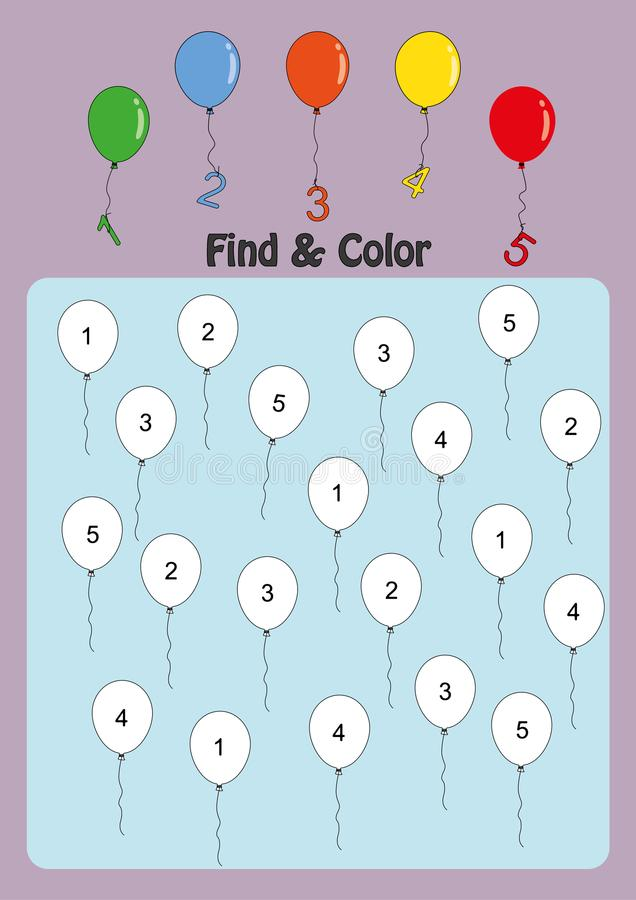 Find And Color Numbers 1-5, Math Worksheet For Kids Stock ...
