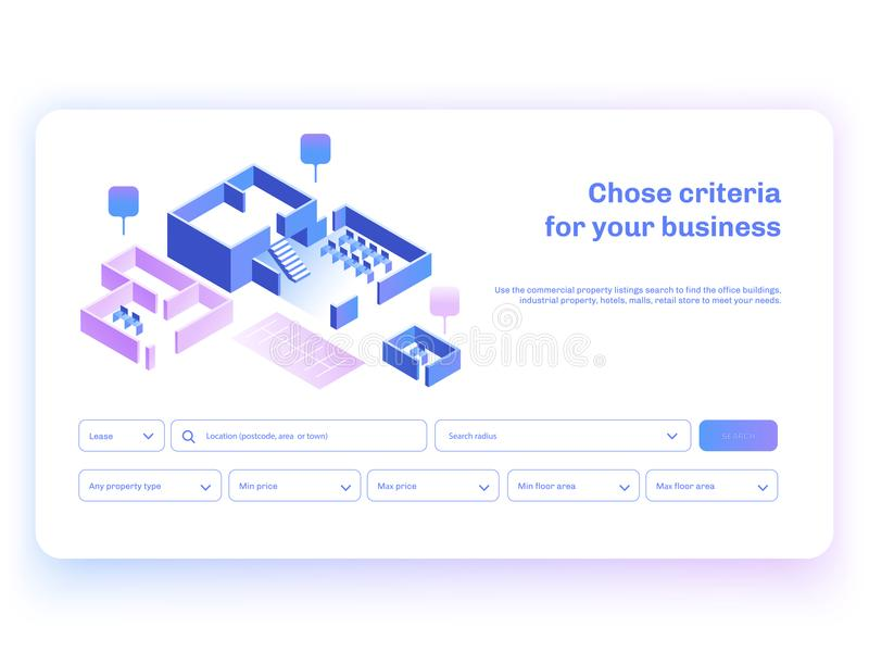 Find commercial real estate for your business. Isometric vector illustation with buildings. Landing page concept. Find commercial real estate for your business royalty free illustration
