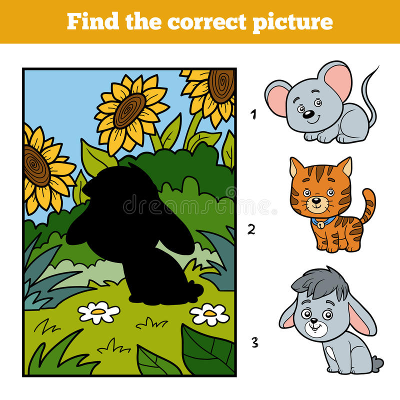 Find the correct picture. Little rabbit and background. Find the correct picture, education game for children. Little rabbit and background vector illustration