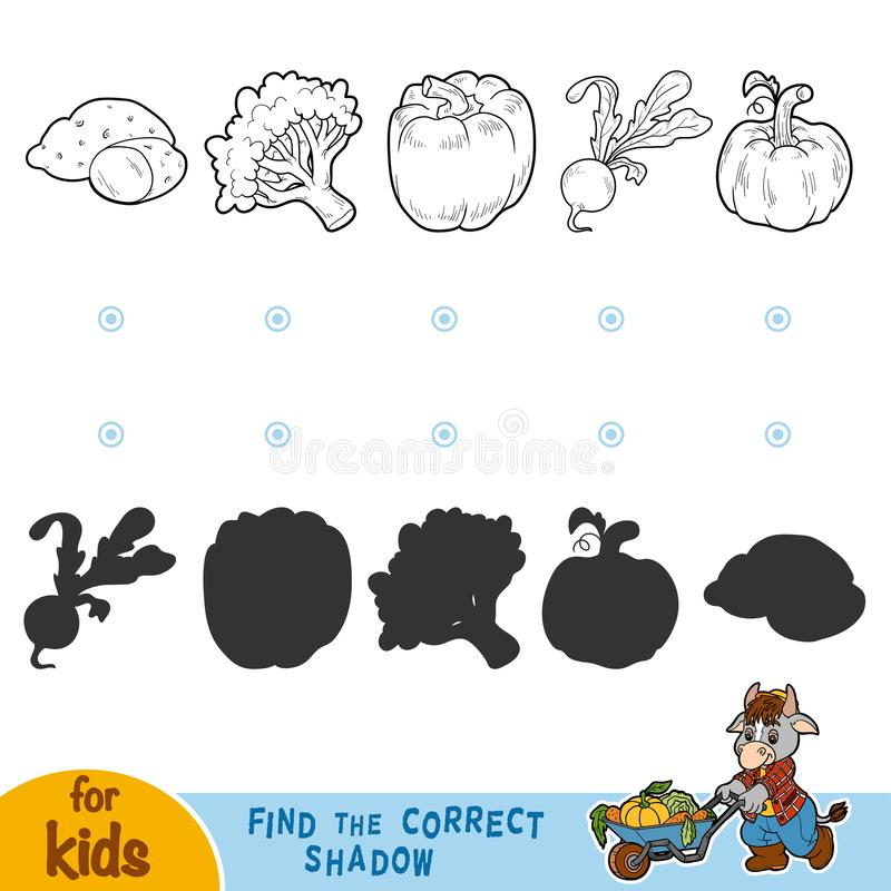 Find the correct shadow. Black and white vegetables. Find the correct shadow, education game for children. Black and white vegetables vector illustration