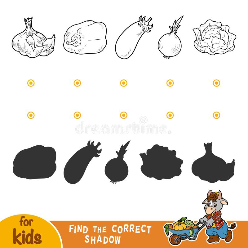 Find the correct shadow. Black and white vegetables. Find the correct shadow, education game for children. Black and white vegetables stock illustration