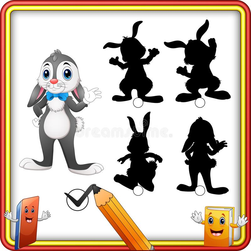 Find the correct shadow. Cartoon funny rabbit waving hand. Education Game for Children stock illustration