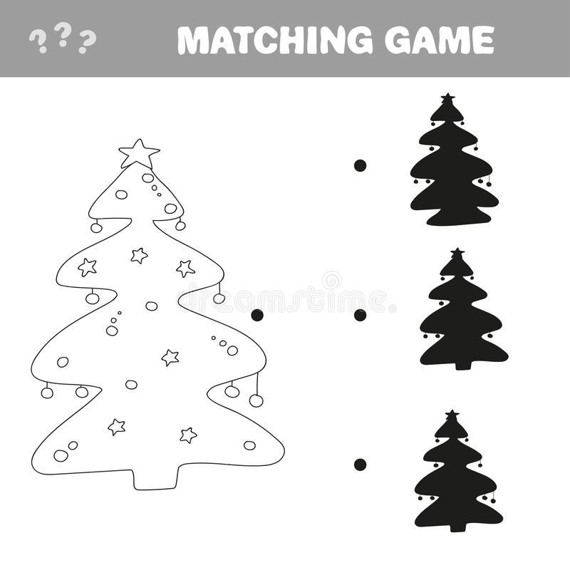 Find the correct shadow of Christmas tree. Education game for preschool kids stock images
