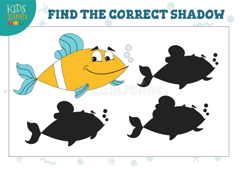 Find the correct shadow for cute yellow fish educational preschool kids game stock illustration