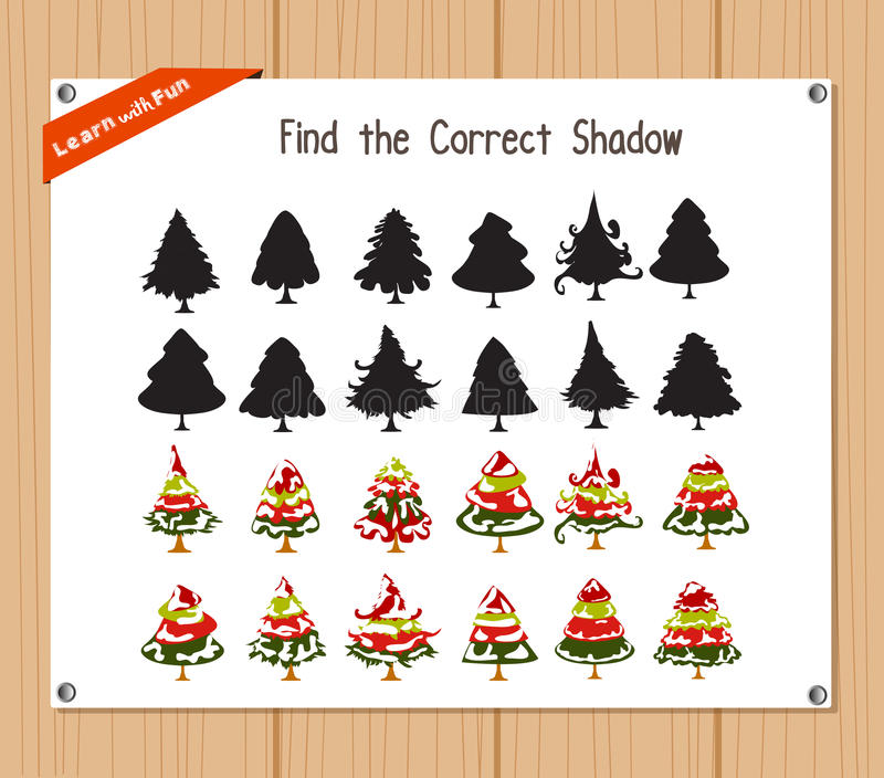 Find the correct shadow, education game for children - Christmas tree vector illustration