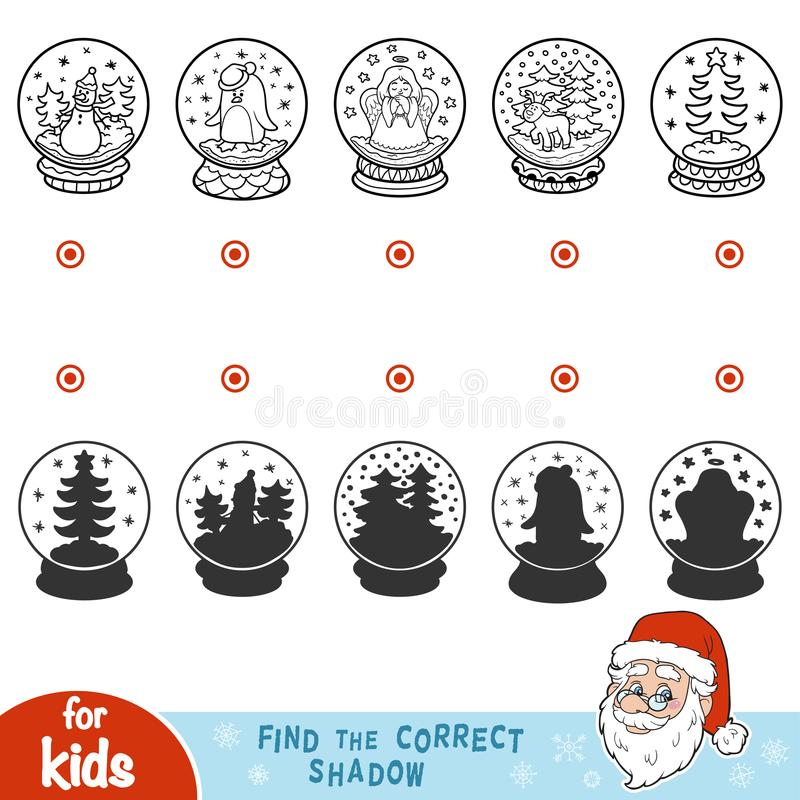 Find the correct shadow. Snowballs with Christmas items royalty free illustration