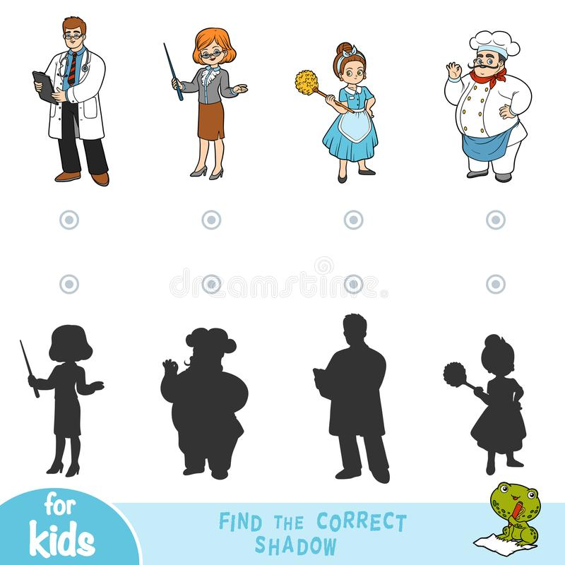 Find the correct shadow, education game. Set of professions vector illustration