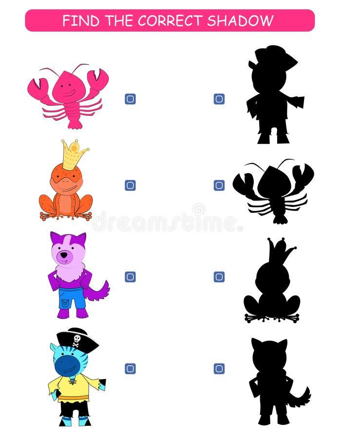 Find the correct shadow. Kids educational game. Cartoon animal: lobster, frog, wolf, zebra. stock illustration
