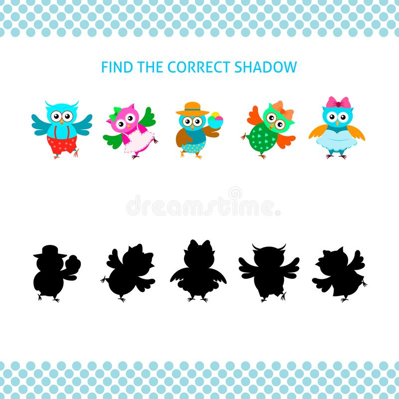 Cartoon owls with silhouettes set. Find the correct shadow vector illustration