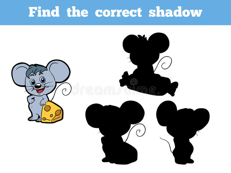 Find the correct shadow (mouse). Game for children: Find the correct shadow (mouse royalty free illustration