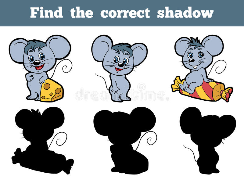 Find the correct shadow (mouse). Game for children: Find the correct shadow (mouse vector illustration