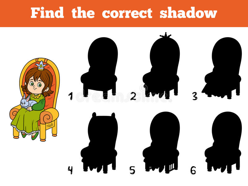 Find the correct shadow, princess seated on a throne. Find the correct shadow, education game for children, young princess seated on a throne with the bunny in vector illustration