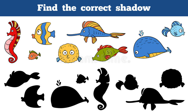 Find the correct shadow (sea life, fish, sea horse, whale). Game for children: Find the correct shadow (sea life, fish, sea horse, whale royalty free illustration