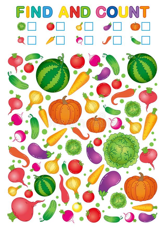 Find And Count. Printable Worksheet For Kindergarten And Preschool.  Exercises For Study Numbers. Bright Vegetable Harvest Chili Pe Stock Vector  - Illustration Of Handwriting, Healthy: 124319220