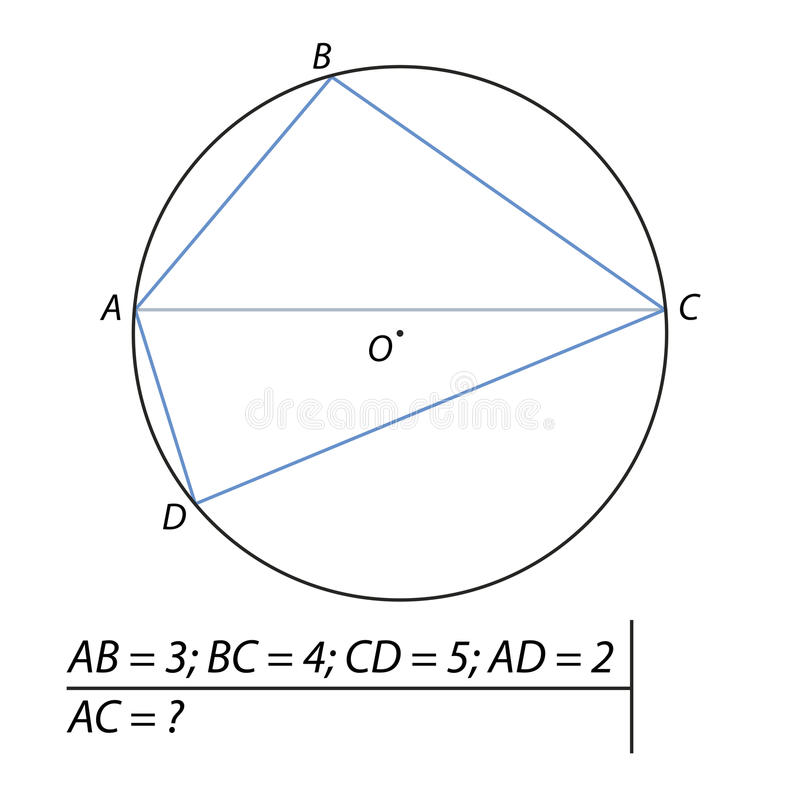 Find the diagonal of the quadrilateral. Vector illustration of the problem of finding diagonals of the quadrilateral royalty free illustration