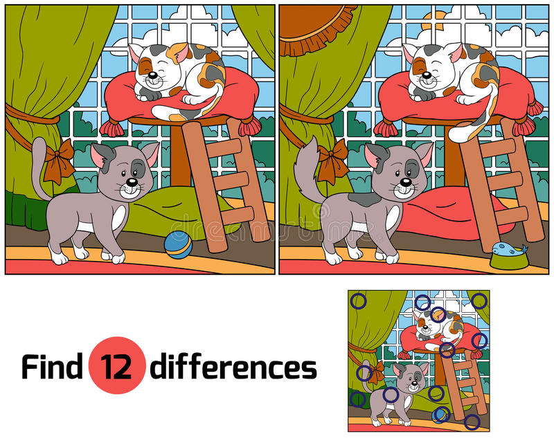 Find differences (cats). Find differences game for children (cats