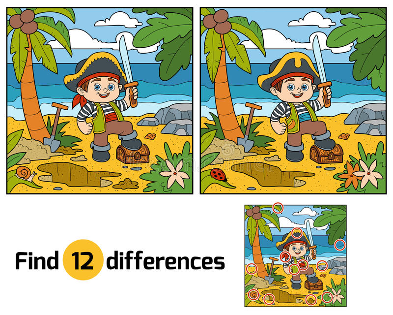 Find differences for children. Pirate and treasure chest stock illustration