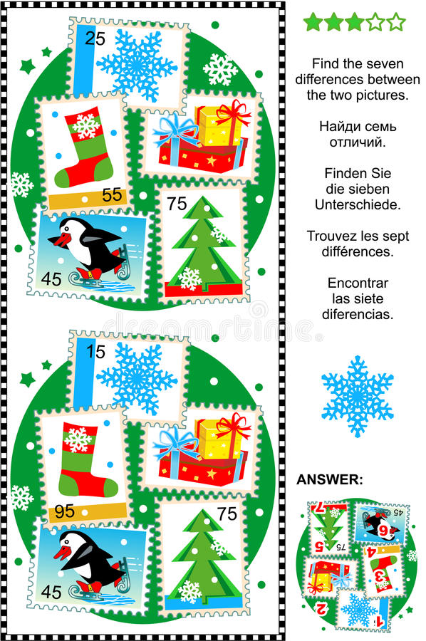 Find the differences Christmas or New Year visual puzzle royalty free stock photo