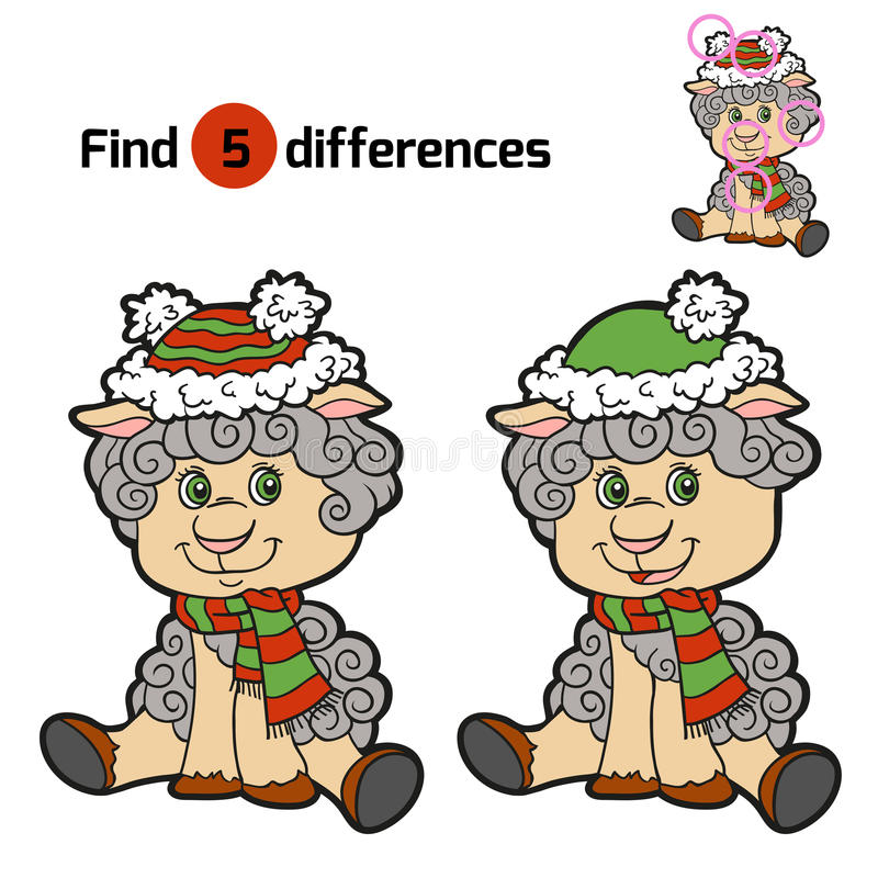 Find differences: Christmas winter sheep vector illustration