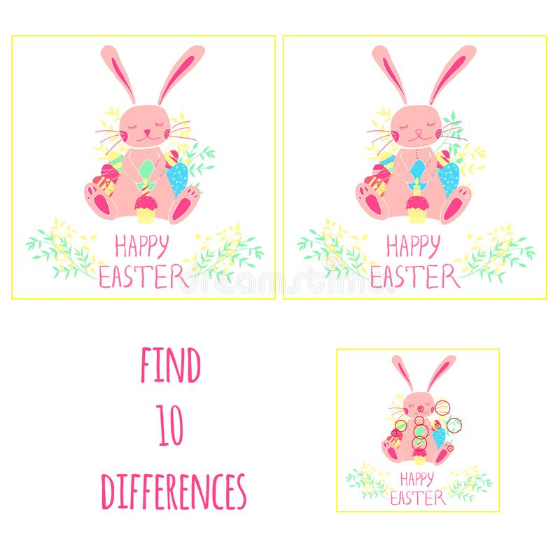 Find 10 differences. Easter. Bunny with eggs, cake and candle. Hand drawn style royalty free illustration