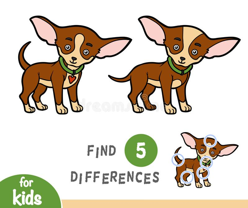 Find differences, education game, Chihuahua. Find differences education game for children, Chihuahua royalty free illustration