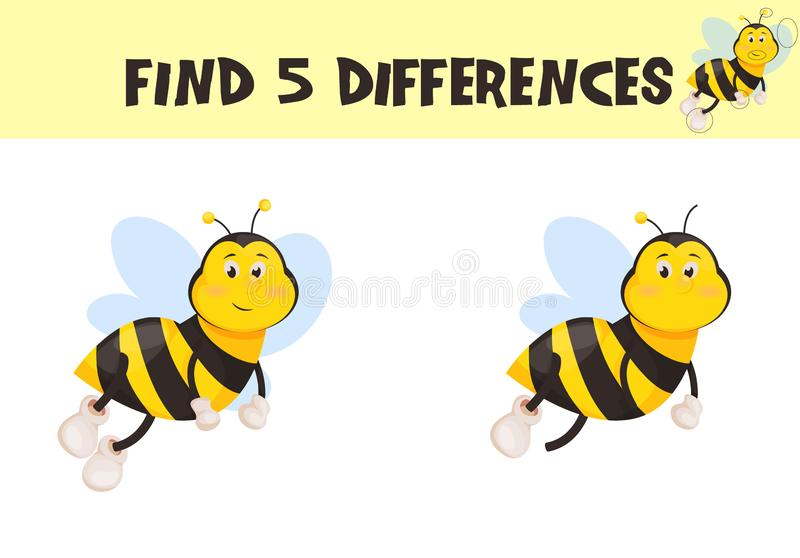 Find differences, education game for children vector ready for print worksheet illustration. royalty free illustration