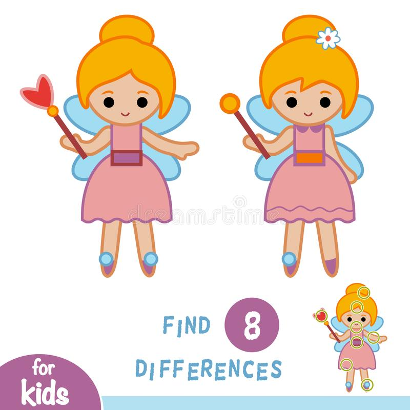Find differences, education game, Fairy. Find differences, education game for children, Fairy girl stock illustration