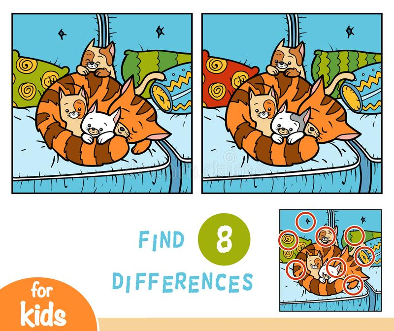 Find differences education game, Four cats. Find differences education game for children, Four cats vector illustration