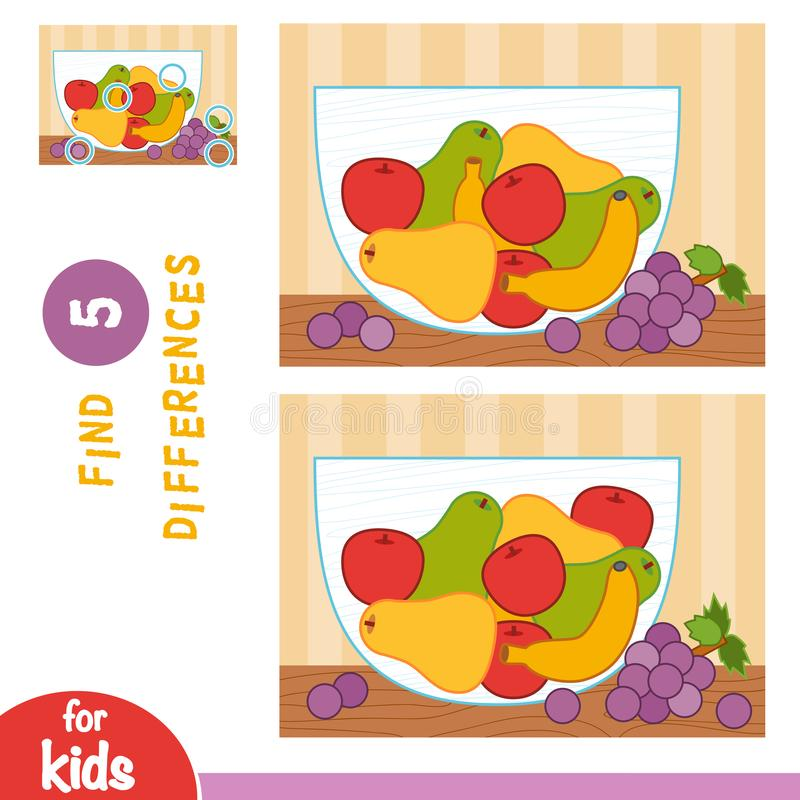 Find differences, education game, Fruit bowl royalty free illustration