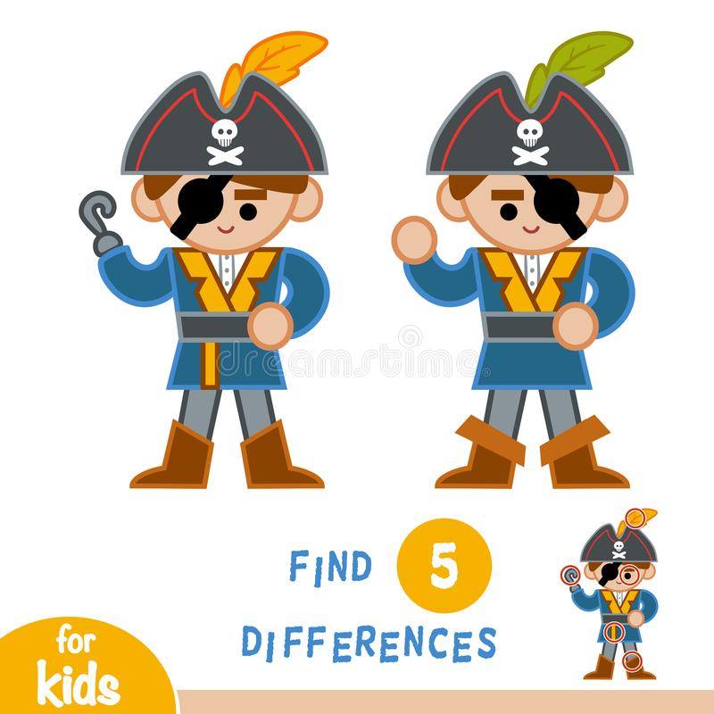 Find differences, education game, Pirate. Find differences, education game for children, Pirate vector illustration