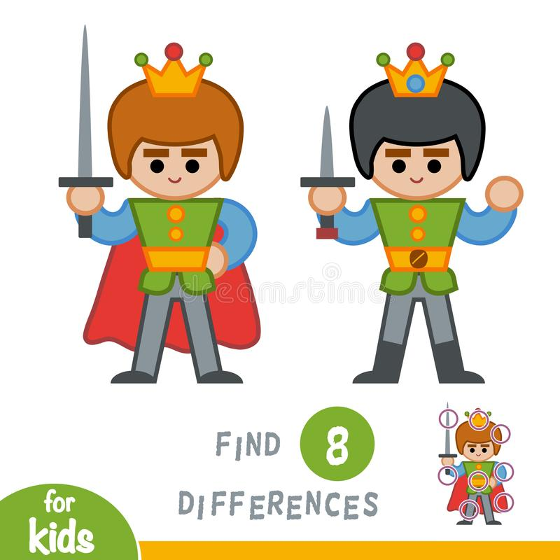 Find differences, education game, Prince. Find differences, education game for children, Prince royalty free illustration
