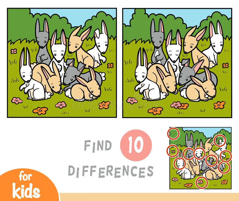 Find differences education game, rabbits. Find differences education game for children, rabbits vector illustration