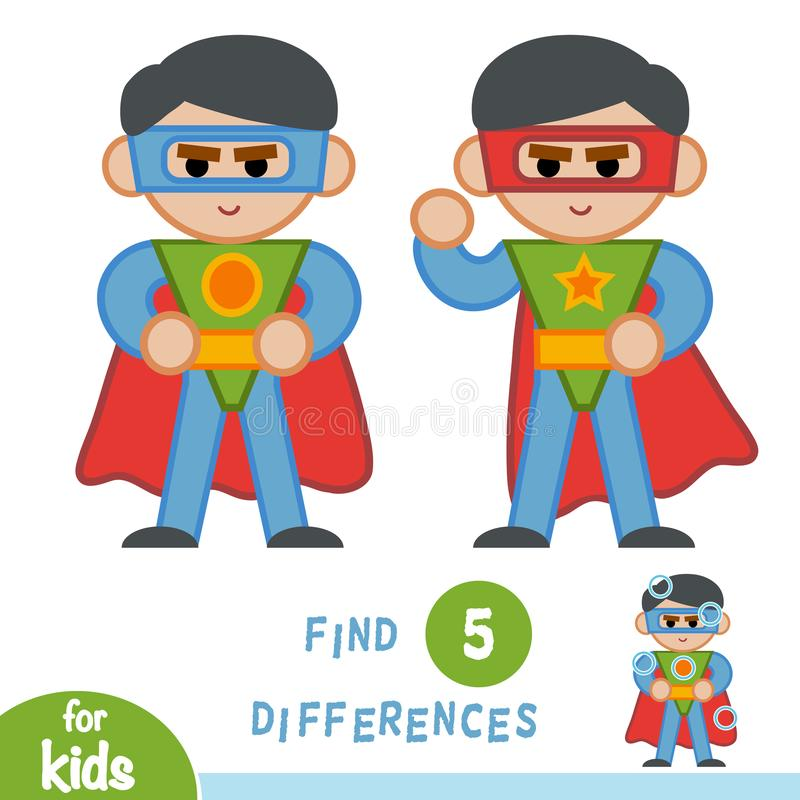 Find differences, education game, Superhero. Find differences, education game for children, Superhero royalty free illustration