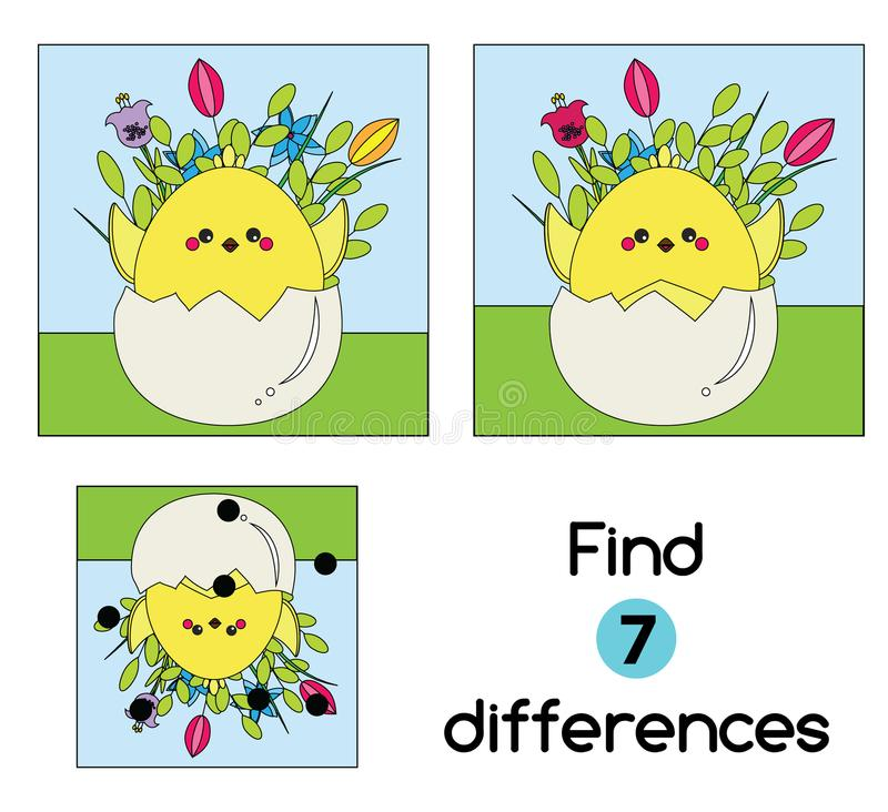 Find the differences educational children game. Kids activity sheet with Chicken in egg. Easter theme stock illustration