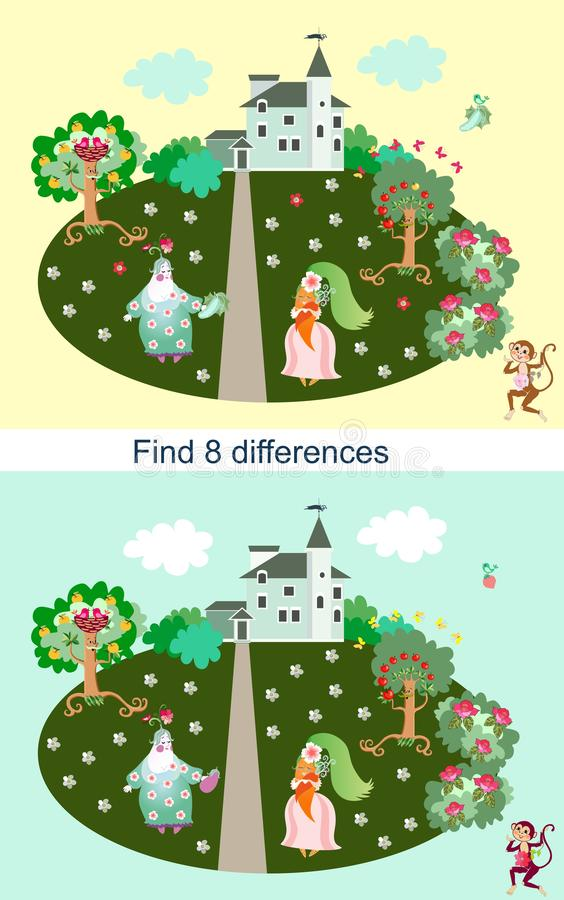 Find differences. Educational game for children. Beautiful landscape with light green house and cheerful characters.  stock illustration