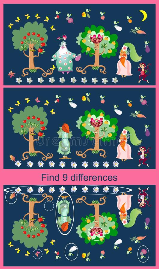 Find differences. Educational game for children. Cute picture with cheerful apple-trees, cucumber, eggplant and carrot royalty free illustration