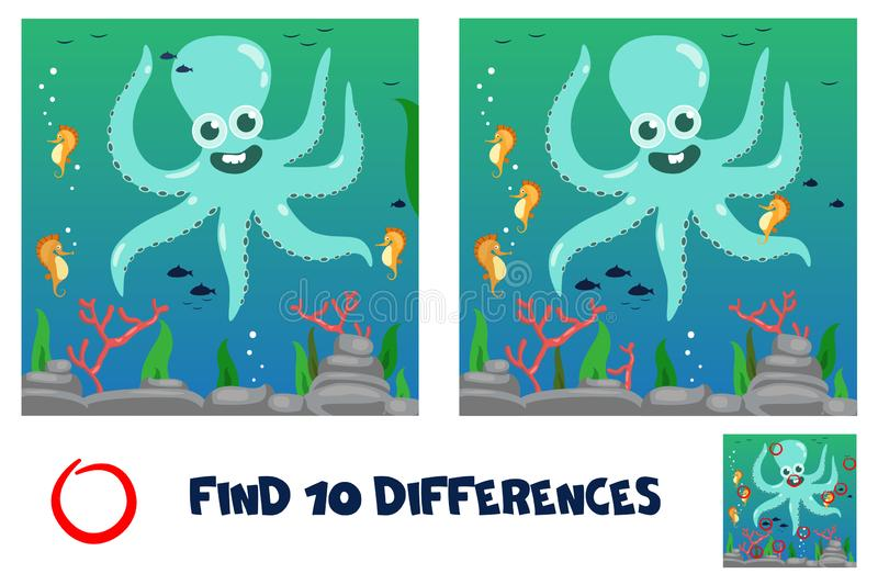 Find 10 differences. Funny octopus. royalty free illustration