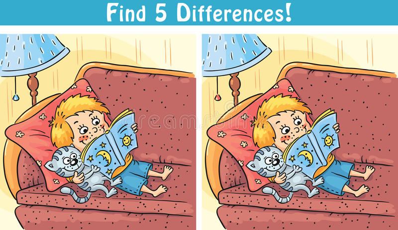 Find differences game with a cartoon boy reading a book vector illustration
