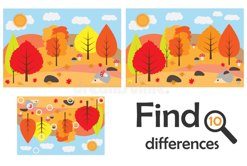 Find 10 differences, game for children, autumn forest in cartoon style, education game for kids, preschool worksheet activity, tas stock illustration
